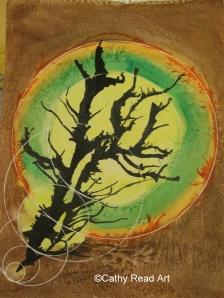 ©2009 Cathy Read - Lone Tree - 28x38cm - Mixed Media
