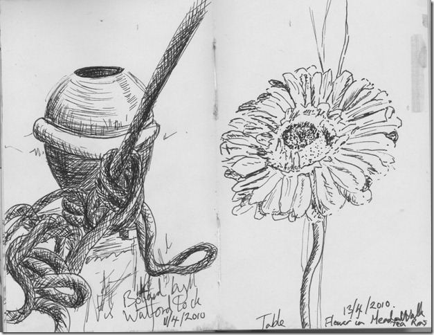 Sketches of a flower and Bollard