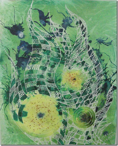 ©2010 Cathy -Growing together-Partnership- 40.6x50.8cm- Mixed media on paper