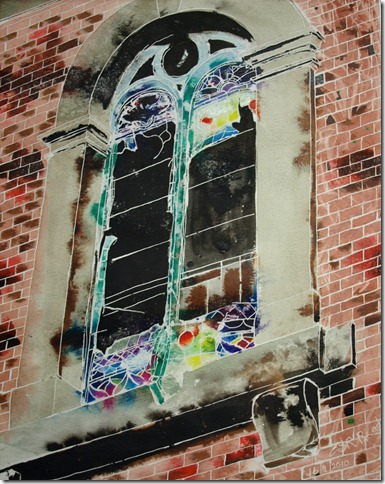 ©2010 Cathy Read -Window on the past- 40.6x50.8cm- Mixed media on paper